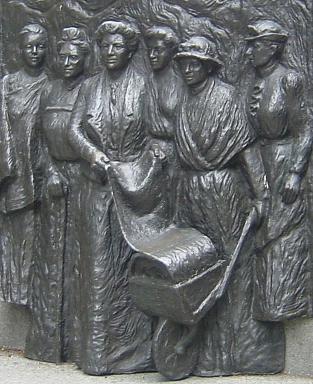Bas-relief of suffragists on the Kate Sheppard National Memorial, Christchurch. The figures shown from left to right are Meri Te Tai Mangakahia, Amey Daldy, Kate Sheppard, Ada Wells, Harriet Morison, and Helen Nicol. Tribute to the Suffragettes, Christchurch, NZ - cropped.jpg