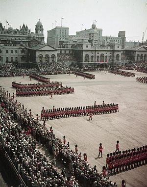 Horse Guards Parade - Trooping the Colour at Horse Guards Parade in 1956.