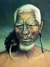 Old painting of a Māori man wearing a birdskin ornament from one ear