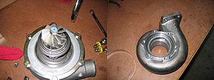 Turbocharger - Turbine side housing removed.