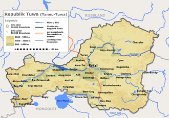 Map of the Tyva Republic, formerly the Tuvinian People's Republic