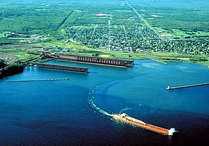 Two Harbors, Minnesota - Aerial view of Two Harbors