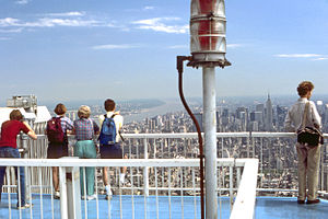 Scenic viewpoint - Midtown Manhattan in the distance. Photo taken at Two World Trade Center's observation deck.
