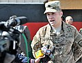 U.S. Army Capt. Nate Wylie, an operations officer for a Kabul-based civil-military support team with U.S. Forces- Afghanistan (USFOR-A), speaks to Afghan media during an Oct 111016-A-JR210-316.jpg