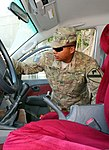 U.S. Army Pfc. Estevan Negrete, a military police officer with the 2nd Brigade Special Troops Battalion, 1st Cavalry Division, searches a vehicle during a training session led by Combined Joint Task Force 130807-D-ZQ898-790.jpg