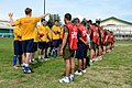 U.S. Sailors assigned to the guided missile destroyer USS John S. McCain (DDG 56) and Philippine marines prepare to compete in a soccer match in Subic Bay, Philippines, July 1, 2014, during Cooperation Afloat 140701-N-YU572-104.jpg