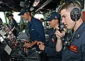 U.S. Sailors man the bridge aboard the mine countermeasures ship USS Chief (MCM 14) while preparing to release underwater training mines in the East China Sea Oct. 20, 2014, in support of exercise Clear Horizon 141020-N-UH865-001.jpg
