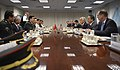 U.S. Secretary of Defense Chuck Hagel, third from right, and China's Minister of National Defense Gen. Chang Wanquan, fourth from left, sit down for a meeting at the Pentagon in Arlington, Va., Aug. 19, 2013 130819-D-NI589-173.jpg