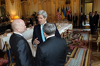 Budapest Memorandum on Security Assurances - U.S. Secretary of State John Kerry speaks with British Foreign Secretary William Hague and Ukrainian Foreign Minister Andrii Deshchytsia after hosting the Budapest Memorandum Ministerial on the Ukraine crisis in Paris, France, on March 5, 2014.