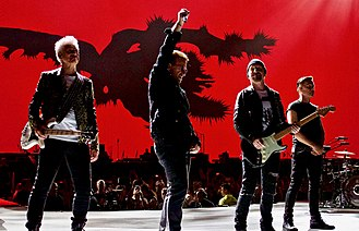 The Joshua Tree Tour 2017 - U2 performing in Kansas City in September 2017, one of several North American dates that was added due to the success of the tour.