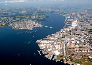 HMNB Devonport - Aerial view: South Yard (in the foreground) dates from 1690; the dockyard expanded northwards over ensuing centuries.