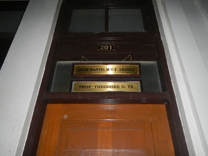 Marvic Leonen - UP Dean Marvic MVF Leonen's office at Room 201 in Malcolm Hall (University of the Philippines College of Law, shared with fellow professor (later on Supreme Court Spokesperson) Atty. Theodore Te