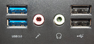 USB - Two USB 3.0 standard A sockets (left) and two USB 2.0 sockets (right) on a computer's front panel