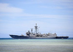 USS Gary (FFG-51) leaves Pearl Harbor in July 2014