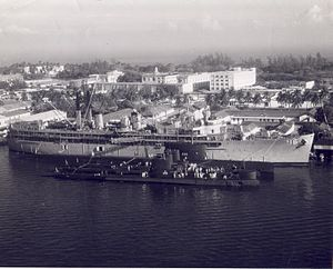 USS Howard W Gilmore AS-16 1960s with subs
