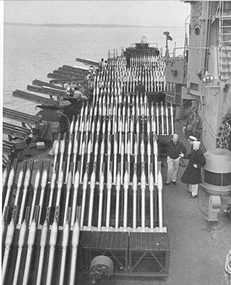 Rocket artillery - Rocket artillery on the US Navy LSM(R)-188 warship of World War II