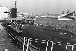 USS Sam Rayburn (SSBN-635) - Sam Rayburn being dismantled prior to her 31 July 1989 decommissioning.