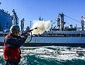 USS Sterett prepares for a replenishment-at-sea. (15516217454).jpg