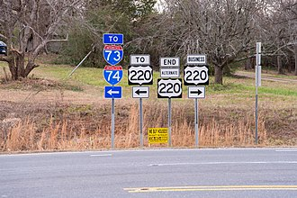 Special routes of U.S. Route 220 - End of US 220 Alt at US 220 Bus, connecting to nearby I-73/I-74/US220