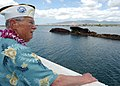 US Navy 030530-N-3994W-001 Retired Chief Warrant Officer Henry White looks over the waters of Pearl Harbor during a visit to the USS Utah (AG 16) Memorial on Ford Island.jpg