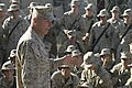 US Navy 051208-M-9708S-044 Commandant of the Marine Corps, Gen. Michael W. Hagee, addresses Marines assigned to the 2nd Battalion, 7th Marines during his recent visit.jpg