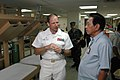 US Navy 060611-N-3532C-015 Commanding officer of the medical treatment facility aboard U.S. Military Sealift Command (MSC) Hospital Ship USNS Mercy (T-AH 19), Navy Capt. Joseph L. Moore, discusses the ship's medical capab.jpg
