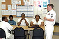 US Navy 070514-N-7975R-007 USS Winston S. Churchill (DDG 81) Electronics Technician 1st Class Josh Weaver speaks about his experiences and provides an overview of career opportunities to students who participate in the JROTC pr.jpg
