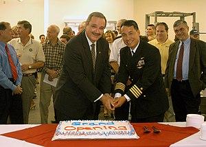 Jeff Miller (Florida politician) - Congressman Jeff Miller and Captain Enrique Sadsad cut a cake at Naval Air Station Whiting Field