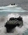 US Navy 080211-N-5067K-018 An amphibious assault vehicle leaves the well deck of the amphibious transport dock ship USS Juneau (LPD 10).jpg