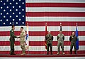 US Navy 080617-N-0696M-026 Adm. Mike Mullen, chairman of the Joint Chiefs of Staff, congratulates Airman 1st Class Philip W. Schwoob.jpg