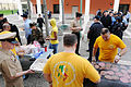 US Navy 090401-N-7526R-017 Members of the Chief Petty Officer Association prepare hotdogs and hamburgers for personnel at Naval Support Activity (NSA) Naples, Italy, to celebrate the 116th birthday of the U.S. Navy chief petty.jpg