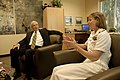 US Navy 100324-N-2389S-034 Rear Adm. Robin Graf, deputy commander of Navy Recruiting Command, discusses Navy capabilities with Jim Cavanaugh, the Mayor of Goodyear, Ariz. Phoenix is one of 20 Navy Weeks planned across America i.jpg