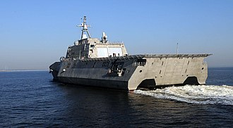 USS Independence (LCS-2) - Rear view of USS Independence approaching Mayport, Florida, showing Evolved SeaRAM on hangar roof.