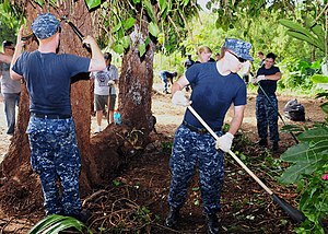 US Navy 120129-N-ET019-867 Sailors help clean a yard during a Habitat for Humanity community relations project.jpg
