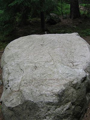 Uppland Rune Inscriptions 101, 143 and 147 - The runestone U 101 is deep in the forest at Södersätra near Stockholm. The stone has not been coloured in modern times.