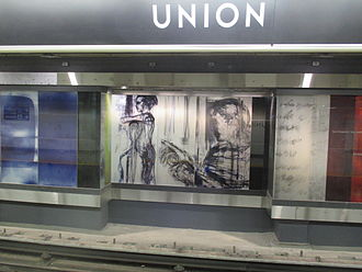 Union station (TTC) - Panel from Zones of Immersion by Stuart Reid opposite the new platform after the 2015 station expansion
