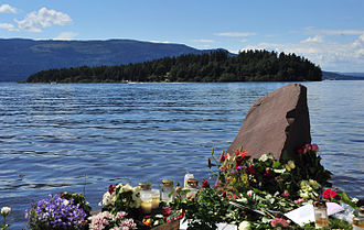 2011 Norway attacks - Temporary memorial with Utøya in the background