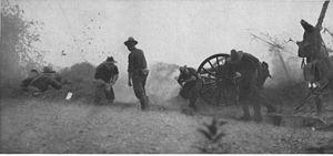 Battle of Manila (1899) - U.S. battery in action at the Bridge of San Juan del Monte, 1899