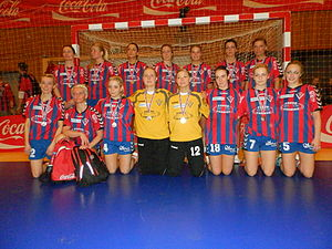 Vágs Bóltfelag - VB's women's team just after playing the final against Neistin, which Neistin won 27–24 on 9 Feb. 2013.