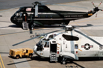 HSC-2 - Two HC-2 helicopters: A VH-3A (behind) and SH-3G (foreground) at Oceana in 1991