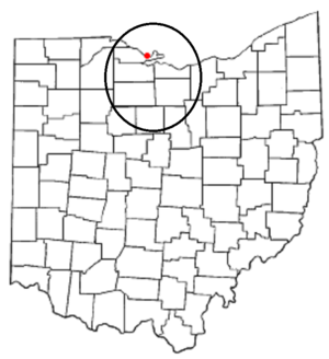 """Vacationland (Ohio) - The part of Ohio colloquially known as """"Vacationland"""" is shown in the circle."""