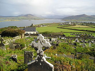 Valentia Island - Valentia Harbour from the north shore of Valentia Island (Photo taken at the top of the Catholic cemetery at Kylemore)