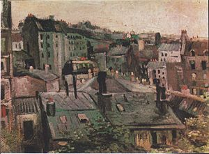 View of Paris from Vincent's Room in the Rue Lepic - Image: Van Gogh Blick auf die Dächer von Paris