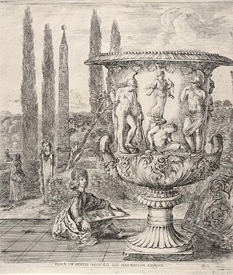 Medici Vase - Etching by Stefano della Bella (1656); the young Grand Duke Cosimo III drawing the vase at the Villa Medici, Rome