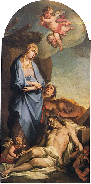 Mary weeps over the dead Christ