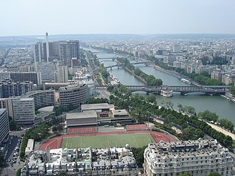 Embassy of Australia, Paris - A view from the Eiffel Tower showing the Embassy of Australia and the staff apartment building (the curved buildings at the centre-left of the image)
