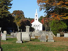 View of First Congregational Church from Hamilton Cemetery