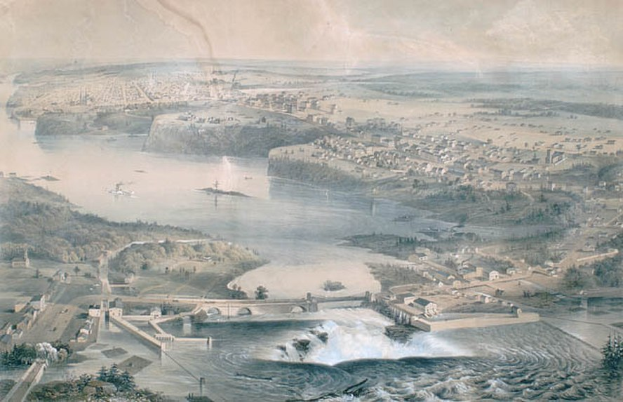 A view of Ottawa, some of Hull and of the Ottawa River circa 1859, including views of the Chaudière Falls and of Parliament Hill (formerly Barrack Hill) prior to the construction of the Parliament Buildings. Ottawa, Ontario, Canada. Lithograph, hand-coloured, some discolouration, water mark at top left. Crack in paper, upper centre