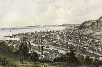 Swansea - Docks and railway bridge (1850)