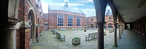 Stockport Grammar School - View of the Hallam Hall across the Old Quad